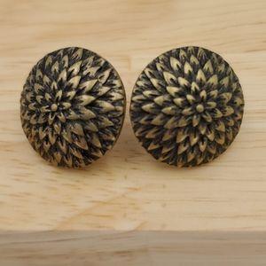 Premier Designs Brass Mum Flower Pierced Earrings